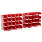 Geiger Hanging Panel (set of 2) 40 x HB210R Red Bins C/W Screws and wall plugs.