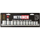 Metrinch 12 Piece 3/8 Inch Socket Set